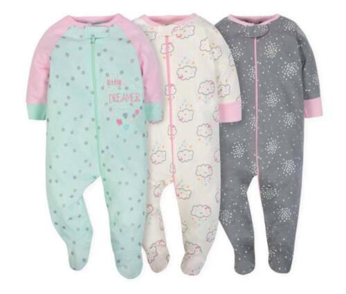 Gerber Baby 3-Pack 'Sleep-n-Play' Long Sleeve Sleepers—Boy or Girl Choose Size