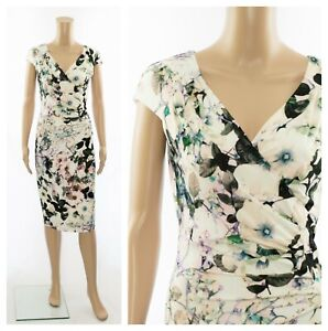ex-Phase-Eight-Floral-Print-Ruched-Wrap-Bodycon-Party-Occasion-Dress