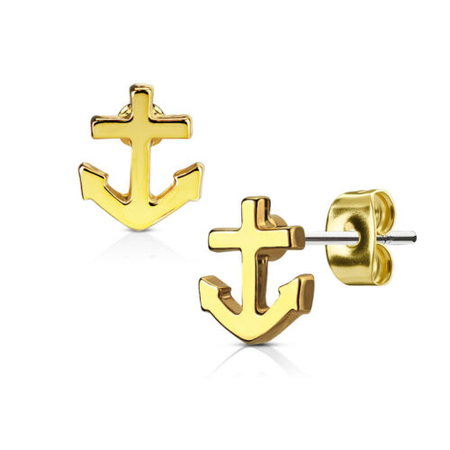 1 Paar Damen Ohrstecker Ohrringe Edelstahl Anker Anchor Autiga®