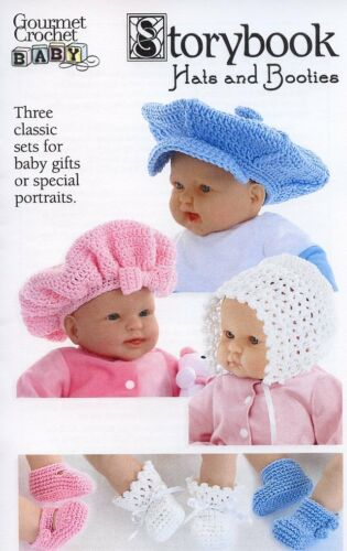 Storybook Hats and Booties Baby Newborn-12mo Gourmet Crochet Pattern Leaflet NEW
