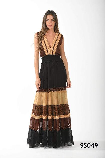 NJ Couture Maxi Stufen Volant Kleid Ibiza Schwarz-Braun-Curry Chiffon Gr.S 36/38