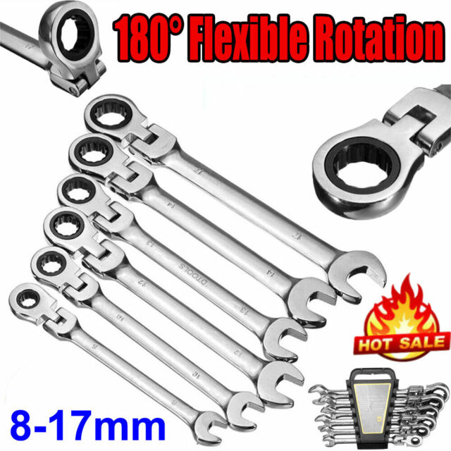 17mm 6pc Metric Flexible Headed Combination Ratchet Spanner Wrench 8mm