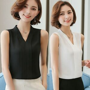 Women-V-Neck-Shirt-Sleeveless-Chiffon-Casual-Career-Office-Blouse-Vest-Tank-Tops