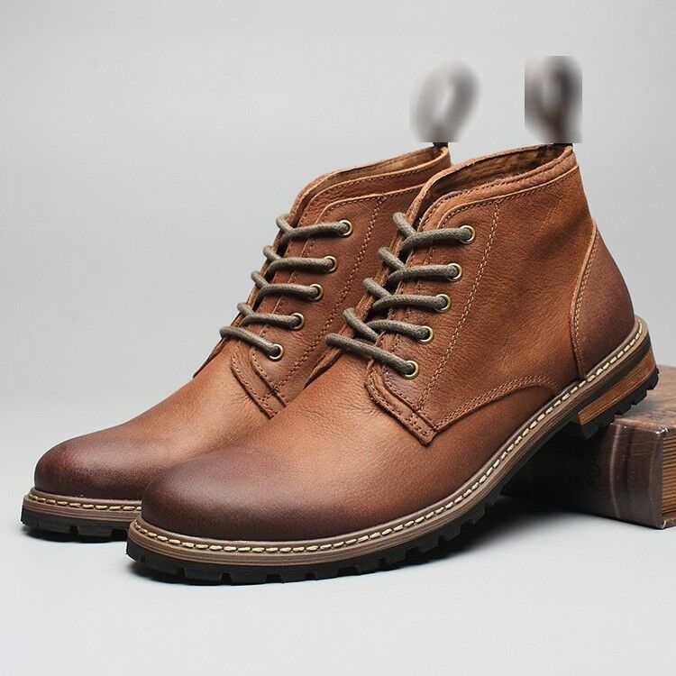 Uomo Vintage Real Pelle Lace Up Roman High Top Work Oxfords Ankle Stivali Shoes