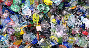 5 POUNDS OF ALL COLOR BLOWN GLASS SCRAPS CHIPS 96 COE CASTING POT MELTS