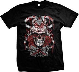 Skull-Roses-Lotus-Flower-Razors-Tattoo-Flash-Art-Oversize-Men-039-s-T-shirt