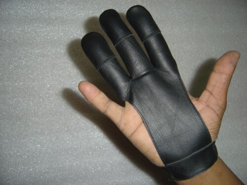 ARCHERS REAL LEATHER SHOOTING 3 FINGERS GLOVE HUNTING SHOOTING ARCHERY GLOVES
