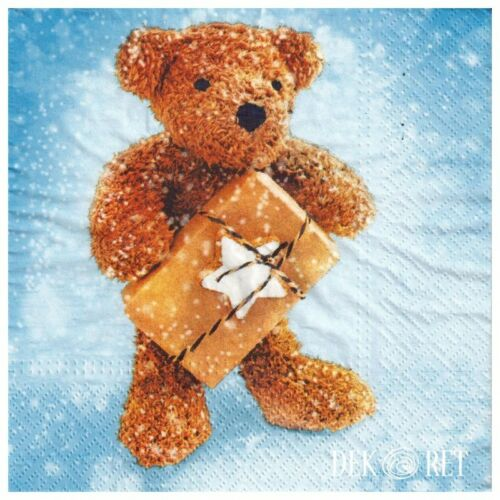 4 Single paper decoupage napkins. Teddy Bear, winter, gift, Christmas, Xmas -580
