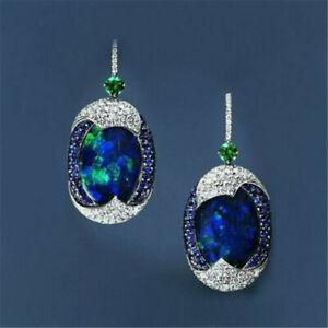 925-Silver-Luxury-Blue-Opal-Sapphire-Woman-Ear-Hook-Earrings-Wedding-Gift