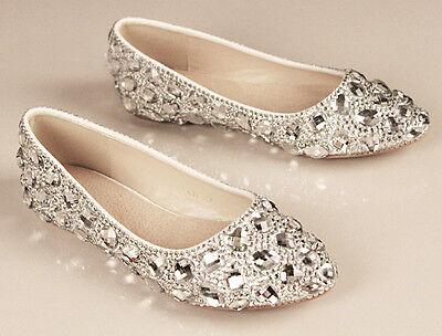 Royal Flat Handmade Diamond Crystal Wedding Prom Close Toes High Heel