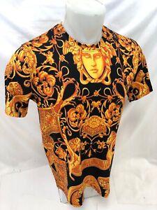Homme-prestigieux-shirt-a-manches-courtes-noir-orange-Lion-Medusa-Head-soyeux-Leaf-104
