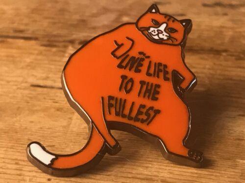 Fat Cat Hard Enamel Pin Lazy Chill Relax Feisty Pet Hello Kitty Lapel Pusheen