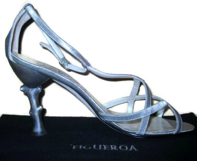 Sexy Shoes Silver Summer Sandals Woman's ITALY Designer Couture 7.5M NEW Evening
