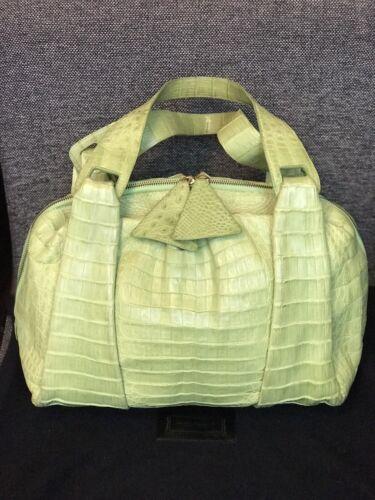 Nancy Gonzales Bag Croc Leather Lime Green