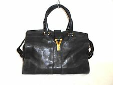 Auth Yves Saint Laurent rivegauche (YSL) Black Cabas Chyc 279079 Leather Handbag