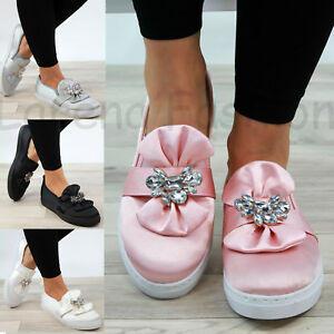 New-Womens-Flatform-Casual-Sneakers-Bow-Embellished-Trainers-Slip-On-Pumps-Shoes