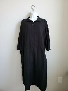 995-NWT-Casey-Casey-Black-Dress-Size-M-Button-Down-Collared-Pockets-100-Viscose
