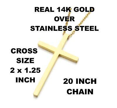 "Real 10K Solid Yellow Gold 1/"" Crucifix Charm Men Women Children Cross Pendant."