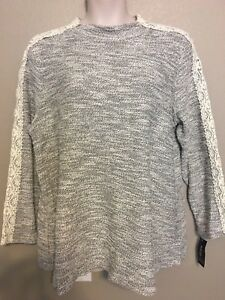 Style-amp-Co-Women-039-s-Plus-Size-2X-Ivory-Marled-Metallic-Lace-Long-Sleeve-Knit-Top