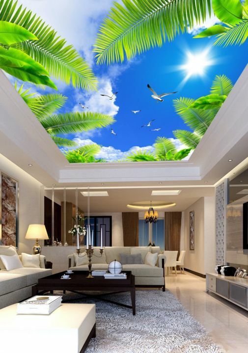 3D Himmel grüne Bäume 7876 Fototapeten Wandbild Fototapete BildTapete Familie DE