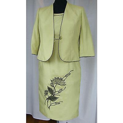 JACQUES VERT MONACO RANGE SOFT LIME GREEN TAILORED DRESS JACKET  NAVY DETAIL N1B