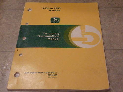 John Deere 2155 To 2955 Tractor Temp Spec Manual 1986