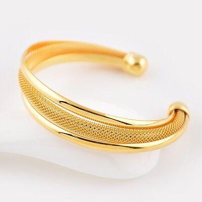 Womens Open Bangle 24k Yellow Gold Filled Bracelet 60MM Fashion Jewelry