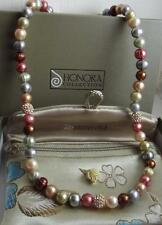 HONORA MULTICOLOUR FW PEARL & CRYSTAL SILVER CLASP NECKLACE 46cm BOXED QVC NEW