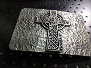Medievel-Style-celtic-Cross-Belt-Buckle-Metal-Antique-Silver-color-us-seller