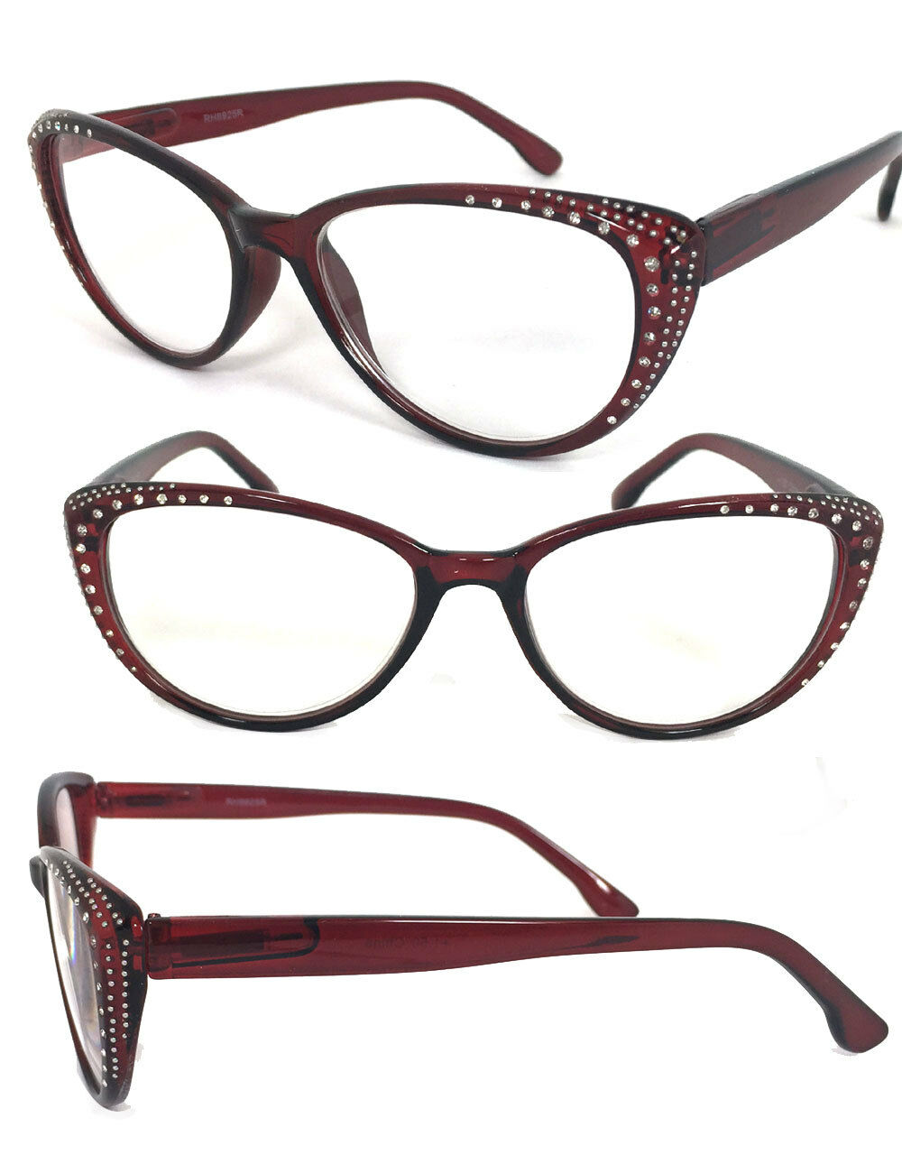8b22c6f0e65 Details about Rhinestone Cat Eye Sexy Vintage Style Clear Lens Reading  Glasses Red Frame