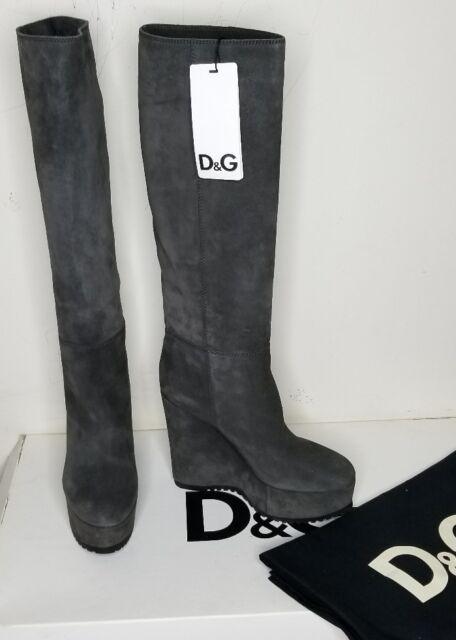 cdd951bc5b3 Dolce Gabbana Gray Suede Knee High BOOTS Sz 9 Platform Wedge Heel EU Sz 40  D&g
