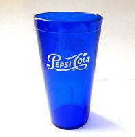 (2) Pepsi Cola Nostalgia Restaurant Glasses Blue Plastic Cups 20 Oz Carlisle
