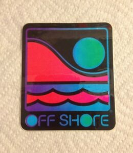 Vintage surfboard sticker Off Shore Surf Company Fin Skate 1980's Hawaii NOS
