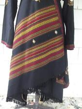 Wool woven blanket asymmetric textile art kaftan abaya dress - med