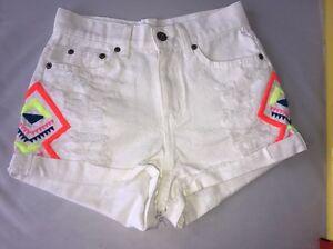 3b192dabed New Carmar Mid Rise White Denim Shorts LF Store Cotton Distressed ...