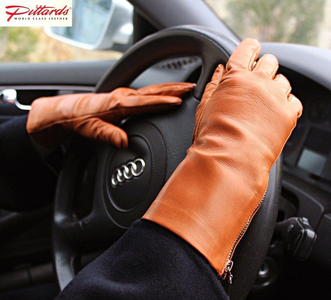 ! totalmente nuevo! coñac guantes de cuero con cremalleras! totalmente nuevo!