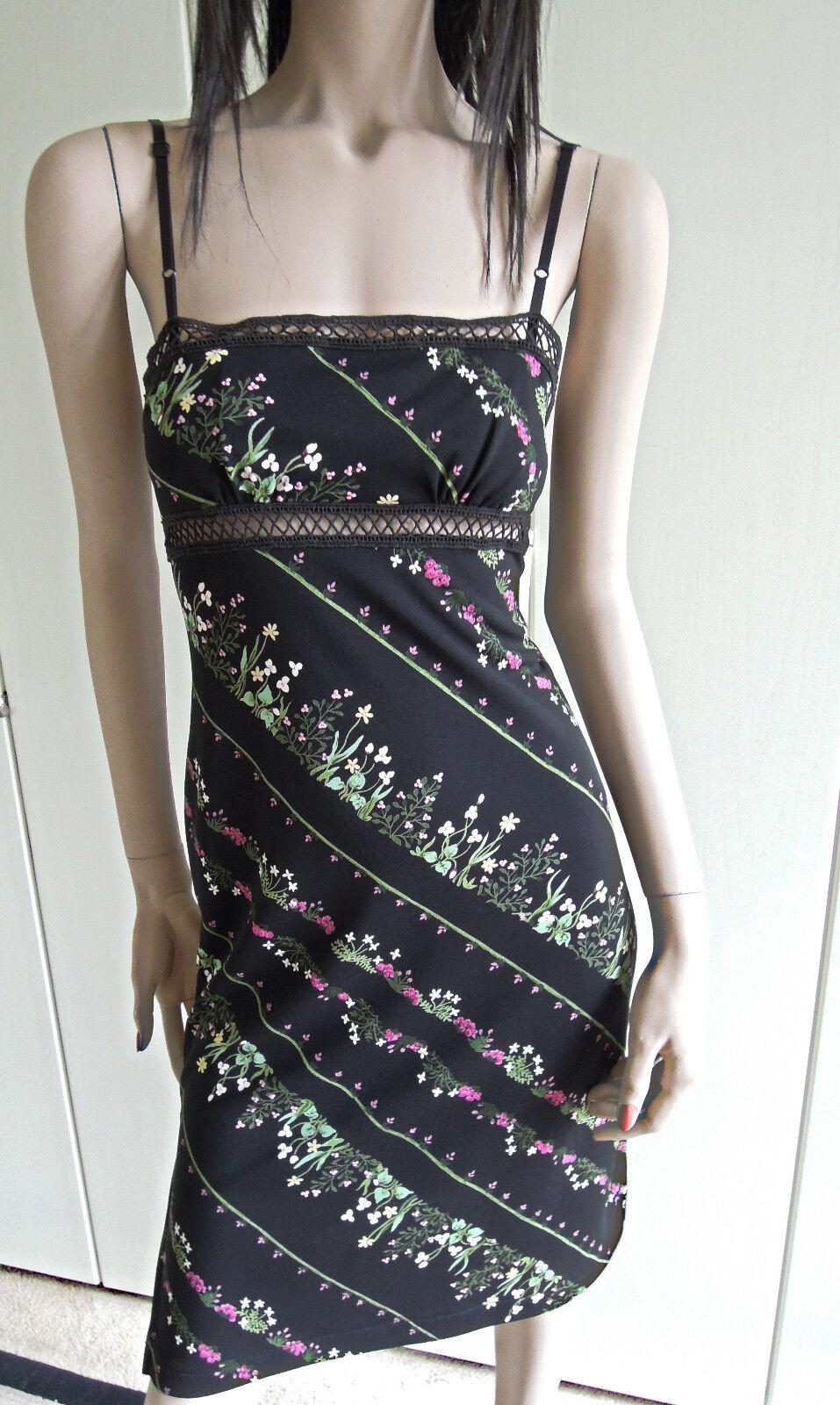Kleid BCBG MAXAZRIA Gr.34 Gr. 36 XS schwarz Blaumen Lochmuster sexy zeitlos