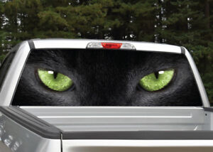 Truck Back Window Decals >> Details About Black Cat Panther Eyes Green Rear Window Decal Graphic For Truck Suv