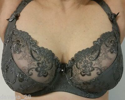 ALEGRO Jewels SOFT GREY Underwire Lace Plunge Bra 9012-A Band 30-40 and Cups C-G