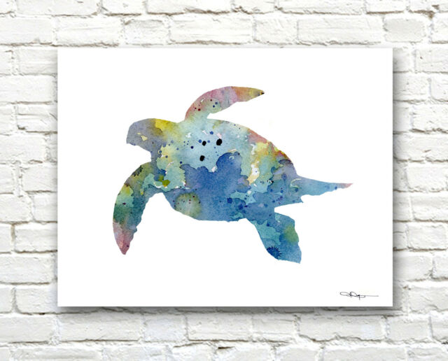 Sea Turtle Abstract Watercolor Painting Art Print by Artist DJ Rogers