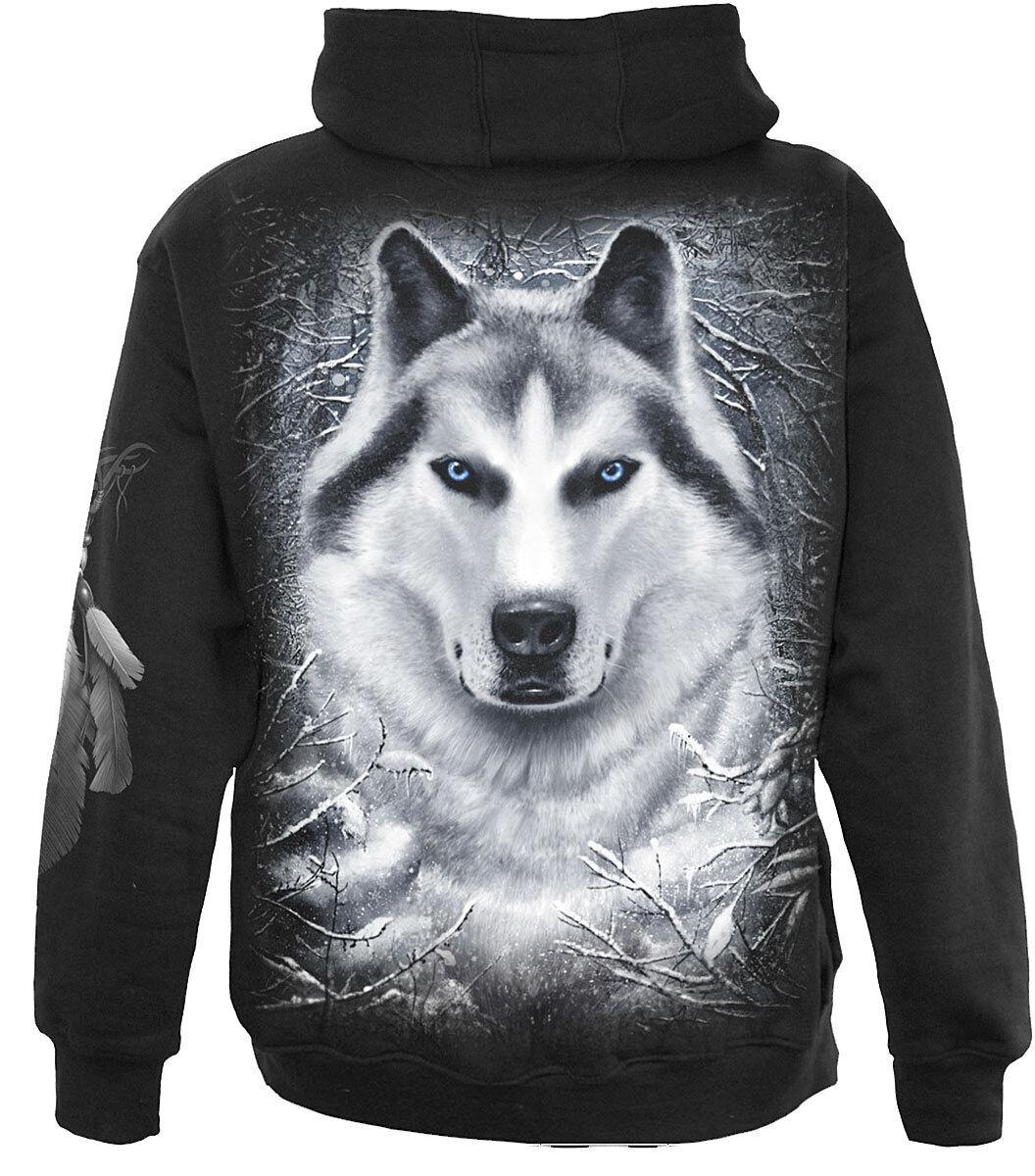 Spiral Direct Weiß Wolf Full Zip Hooded  Wild Sweatshirt Animal Hood Hoody