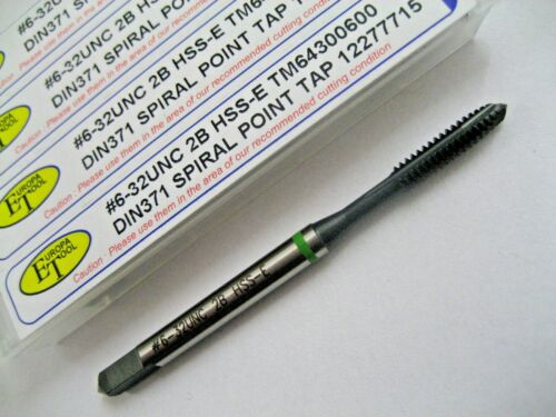 6-32 UNC SPIRAL POINT GREEN RINGED HSS-E 6H M//C TAP TM64300600 EUROPA TOOL  3