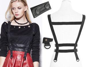 Bretelles-ceinture-harnais-gothique-punk-steampunk-cuir-sangles-boutons-Punkrave