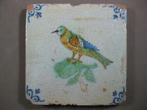 Ceramics & Porcelain Tiles Antique Dutch Bird Tile Rare 17th Century Free Shipping