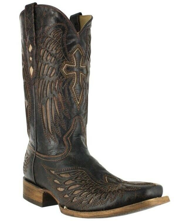 Corral Men's Square Toe Leather Cowboy Western Boots Brown Bone Wing Cross A1978