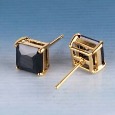 Classic Yellow Gold Filled Black Square Crystal Cubic Zirconia CZ Stud Earrings