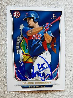 Cleveland Indians Nelson Rodriguez Signed 2014 Bowman State & Hometown Card Auto