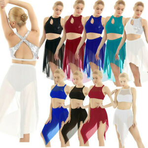 Women-039-s-Ladies-Lyrical-Dress-Ballet-Latin-Dance-Dancewear-Skirt-Outfits-Costume