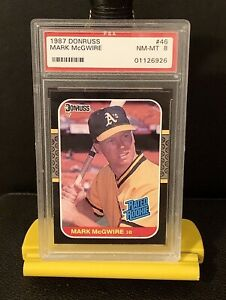 1987-Donruss-Mark-McGwire-Rated-Rookie-Centered-46-PSA-8-Benefits-Charity