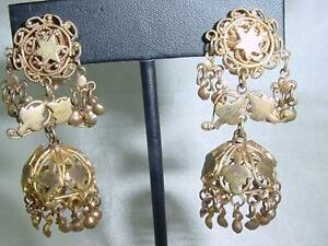 Image Is Loading Stunning Gold Plated Bedouin Middle Eastern Dangle Earrings